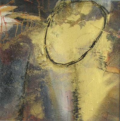 Bacteria aurea, Acryl auf Pappe, 40 x 40. 2004