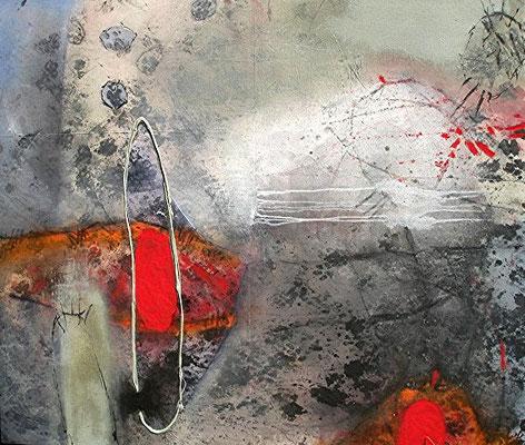 Geburt, Acryl,Pigmente,Gouache auf Lwd.120 x 140, 2008