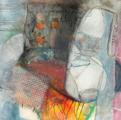 Remember the sixties, Acryl-Pigmente -Mischtechnik auf Lwd., 80 x 80, 2009