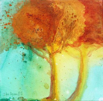 Pinien, Acryl auf Lewd. 20 x 20,2004