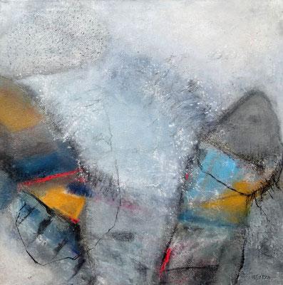 maskulin, Mischtechnik auf  Lwd. 100 x 100 , übermalt 2016