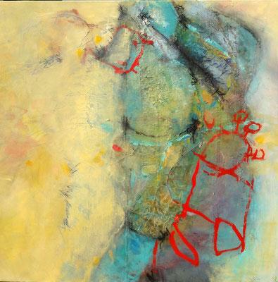 feminin - oasisch Acryl mischtechnik auf Lwd , 100 x 100, 2016