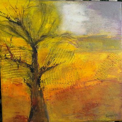 gelber Baum,Acryl auf Leinwand, 30 x 30 ,2001