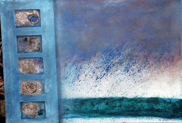 Regen und Meer,Acryl-Mischtechnik auf Lwd, 50 x 70,3003