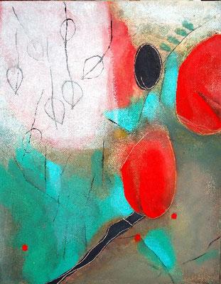 Blütenknospen,Pigmente auf Lwd., 100 x 80, 2007