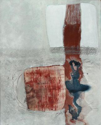 blue print, Acryl auf  Pappe auf Holz , 100 x 80,überarbeitet 2017