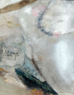 virus, neugieriger Eindringling,Acryl auf Papier, auf Sperrholz gezogen, 100 x 80, 2005