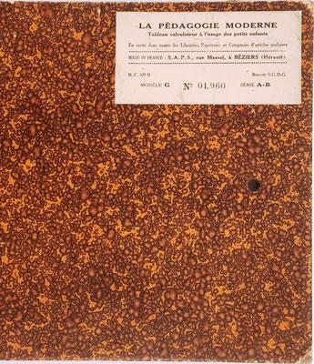 Reverso de la tabla de multiplicación LA PÉDAGOGIE MODERNE, con el s/n 01960