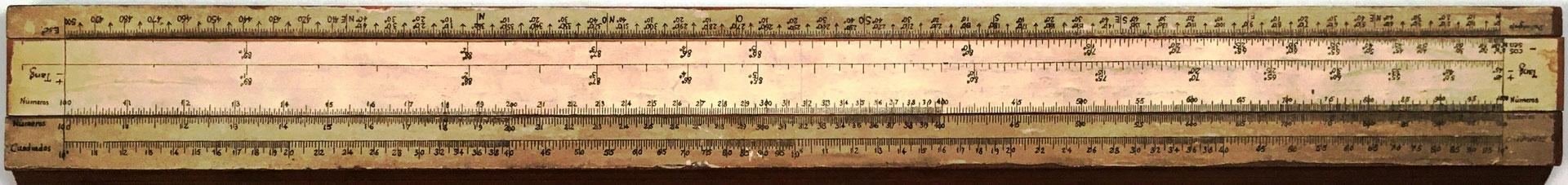 Primitiva Regla Topográfica española marca CONDE (modelo 1), reverso reglilla
