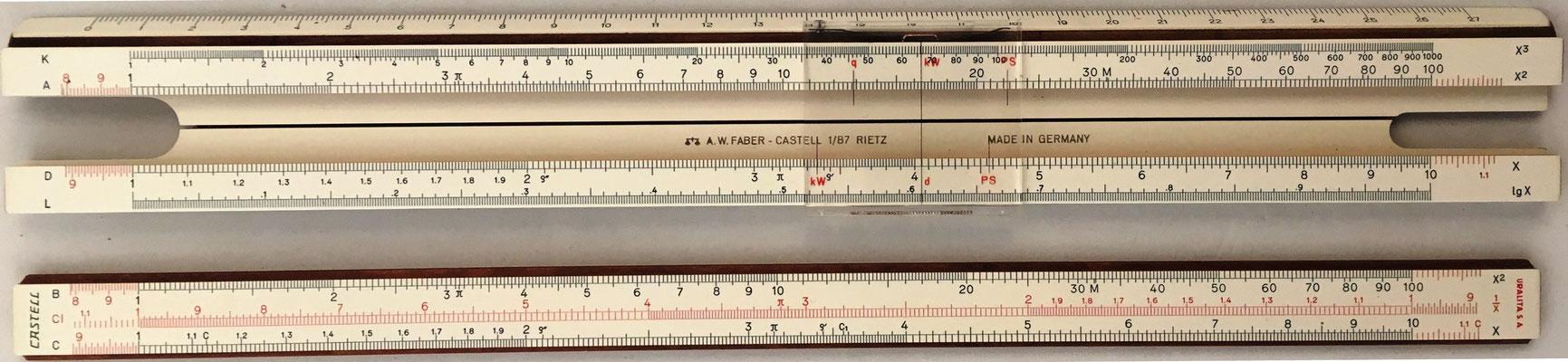 Anverso de la regla URALITA S.A (Faber-Castell 1/87) y de la reglilla