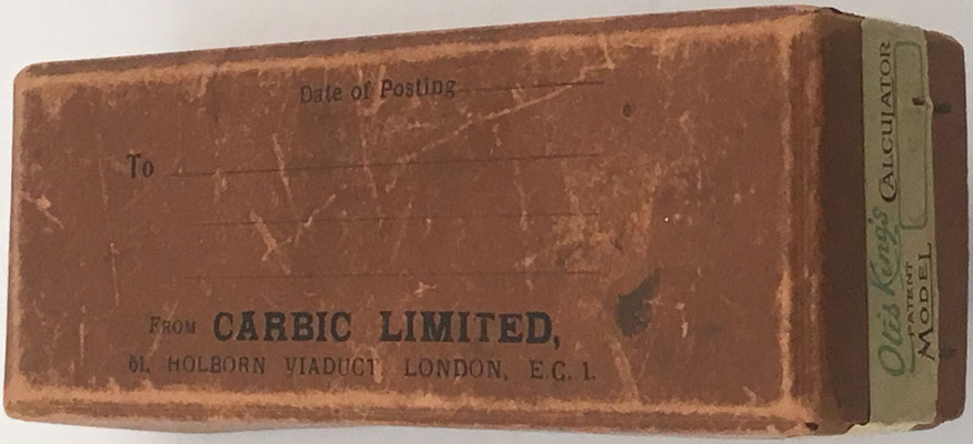 OTIS KING'S Poket Calculato, Modelo K tipo III, s/n 7333, dentro de su caja
