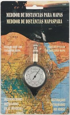Opisómetro, curvímetro o medidor de distancias para mapas ART. nº 9280, fabricado en Hong Kong, 9.5 cm x 4 cm diámetro cm