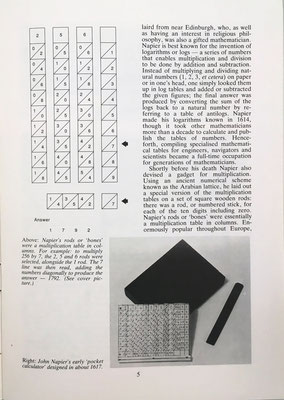 Estudia el ábaco neperiano de varillas (Napier'r rods or bones) para la multiplicación