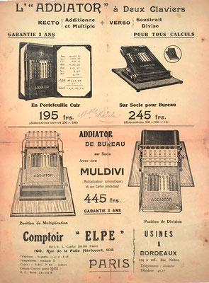 """Página publicitaria del ábaco de ranuras ADDIATOR para usar sólo y en combinación conjunta con el aparato neperiano """"MULDIVI"""""""
