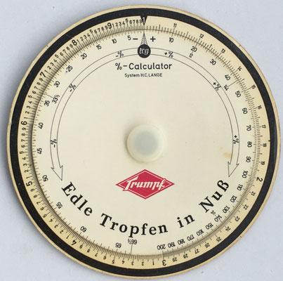 TRUMPF %-Calculator,  System H. C. LANGE, 11 cm diámetro