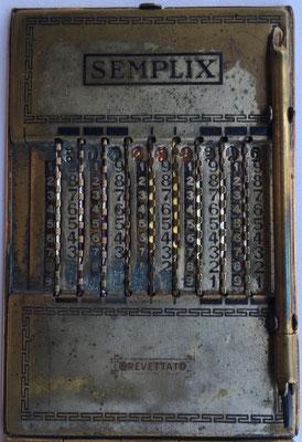 Ábaco de ranuras o contóstilo SEMPLIX modelo 3, sin mecanismo de llevada o acarreo, hecho en Italia, año 1926, 6x9 cm