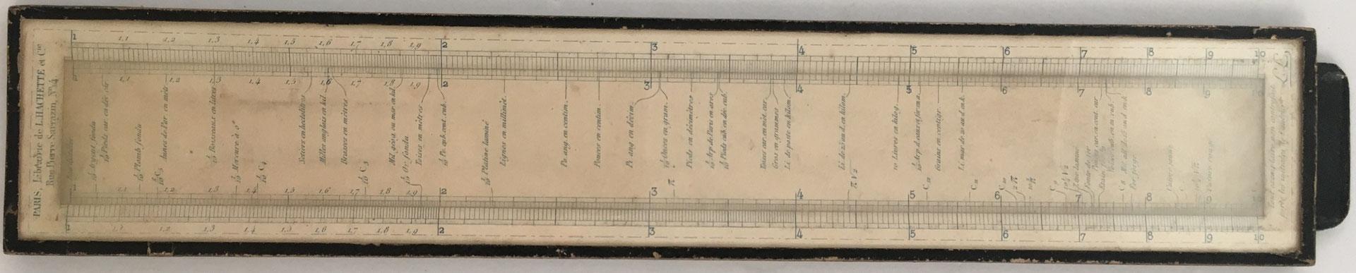 Regla LALANNE con cubierta de cristal, diseñada por León Lalanne, año 1850, 28x5 cm