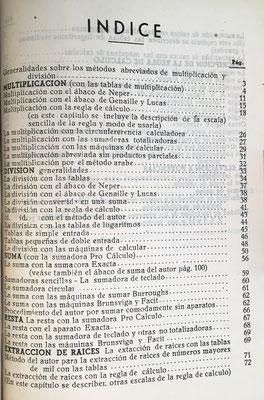 Índice del libro. Contiene instrucciones y 12 láminas para construir reglas de cálculo y ábacos de suma, multiplicación y división