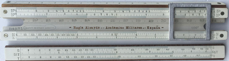 Regla ALCAYDE-NESTLER Academias Militares-España, reverso de la reglilla. En 1914 el uso de la regla se generalizó a las Academias Militares de Infantería, Caballería, Artillería, Ingenieros e Intendencia.