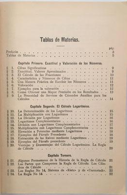 Primera página del índice de La Regla de Cálculo y su Empleo. La empresa Nestler comenzó la fabricación de reglas y cilindros de cálculo en el año 1878