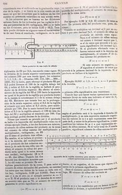 Figuras con la parte posterior de una regla de cálculo y reverso de la reglilla corredera para realizar operaciones de trigonometría