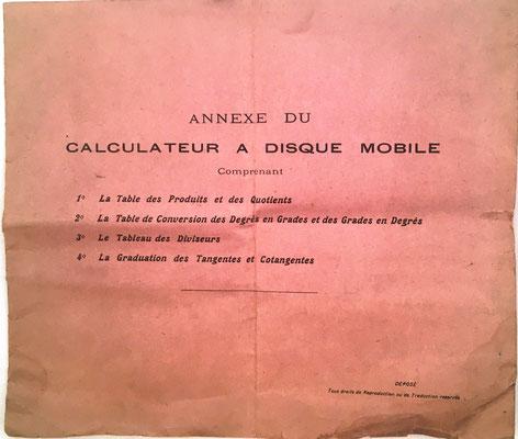 Folleto Anexo al Calculateur à Disque Mobile, con tablas numéricas, editado por Mathieu & Lefèvre impresores, 14 páginas, 22x19 cm
