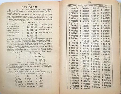 El libro contiene 100 cuadros especiales para la realización de divisiones. Contiene también 247 tablas para la multiplicación (permiten productos hasta 9x10000)