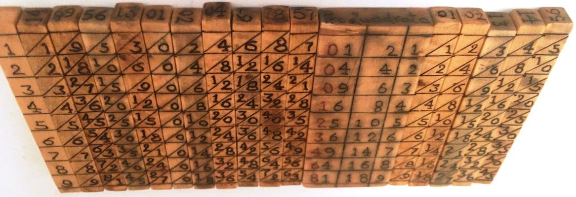 Vista lateral del ábaco multiplicativo de NAPIER, 17 varillas, con indicador de las 4 caras de cada varilla