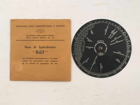 Disco de equivalencias BOT, aparato de comprobación y ensayo fabricado por J.B.A., 11 cm diámetro