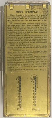 Reverso del ábaco de ranuras TOTALIS Elpé para moneda francesa