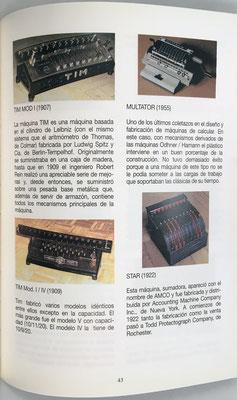 Página 43 del catálogo: una sumadora y tres calculadoras mecánicas