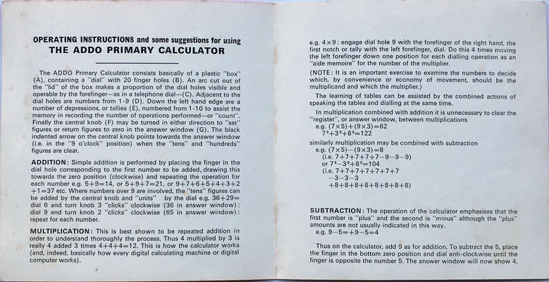 "Folleto de instrucciones de uso del ""The ADDO primary calculator,"" páginas 2 y 3"