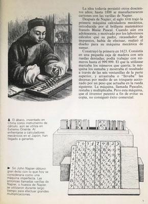 Calculista chino manejando el ábaco.  Varillas o huesos de Napier, estuche y base de apoyo con índice