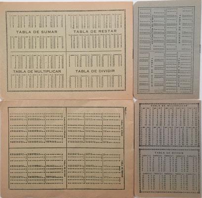 Reverso de los cuadernos con las tablas de sumar, restar, multiplicar y dividir
