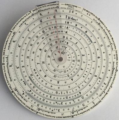 Círculo de cálculo educativo CORONA I, año 1965, USA, 18 cm diámetro