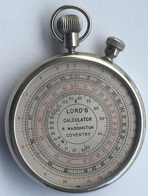 LORD'S CALCULATOR Tipo I,  England, año 1895, 7 cm diámetro, nº serie 44