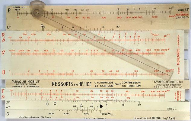 Abaque Mobile REYNAL, regla de cálculo para determinación rápida de muelles de hélice, Francia, año 1925, 27x17 cm
