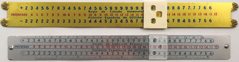 Dos versiones de la Regla de Cálculo Elemental, operaciones de suma y resta, 28x3 cm