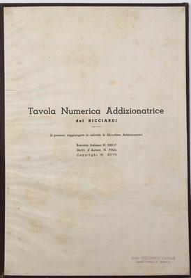 TAVOLA NUMERICA ADDIZIONATRICE del RICCIARDI, hacia 1940, 24x34 cm