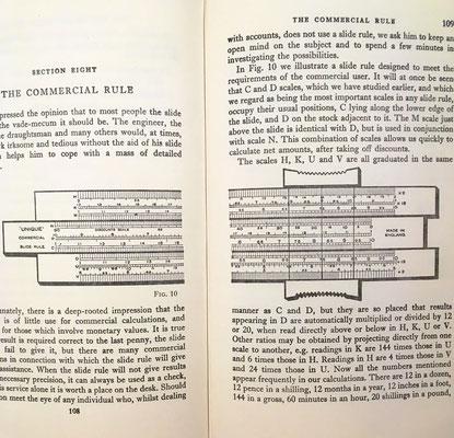 Ilustración de la regla de cálculo lineal Unique Commercial