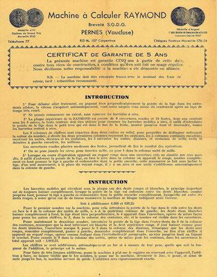 Instrucciones para el uso del ábaco de ranuras RAYMOND, anverso