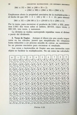 La imagen muestra un juego de las varas (o bastoncillos) de Napier que reducen las multiplicaciones a sumas