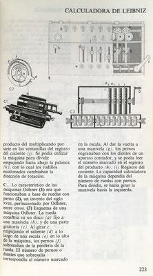 Esquema de la calculadora de Leibniz y de la máquina Odhner que funcionaba a base de ruedas metálicas con pernos y ruedas dentadas