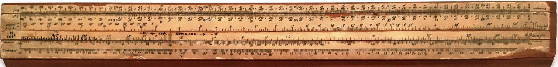 Primitiva Regla Topográfica española marca CONDE (1ª modificación), 43x5 cm