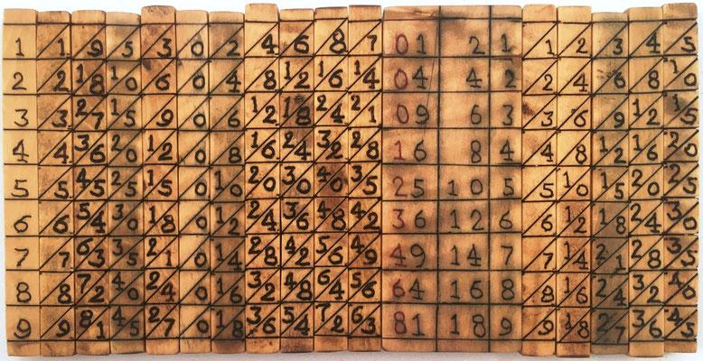 Ábaco multiplicativo de NAPIER, 17 varillas cuadrangulares (16 de 0.6x cm y 1 de 2.5x6 cm), madera de boj. Diseño: diagonal principal, ascendente hacia abajo, con indicador de las caras de cada varilla