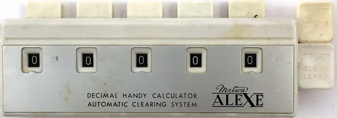 Mini Calculator Meiva ALEXE, decimal handy calculator, fabricado por Meiwa Corp. del Grupo Mitsubishi, Tokyo (Japón), año 1960, 15x5.5 cm