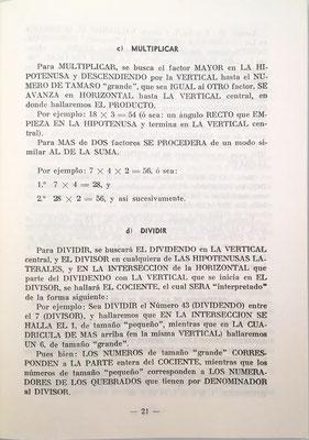 La Tabla Universal de Férez sirve para realizar sumas, restas, multiplicaciones y  divisiones.  En la página 21 se explica cómo realizar multiplicaciones y divisiones