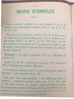 Instrucciones de uso para las tablas de Le Petit Manuel du Négociant