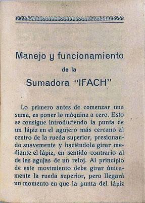 Primera página del folleto instrucciones para la sumadora IFACH