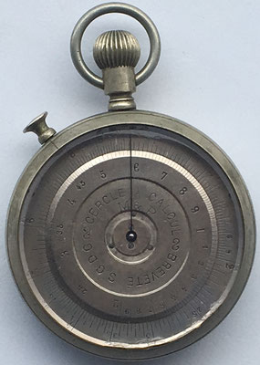 Cercle a calcul M&P (Meyrat & Perdrizet) tipo 2, hacia 1899, 6 cm de diámetro